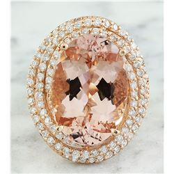 14.58 CTW Morganite 18K Rose Gold Diamond Ring