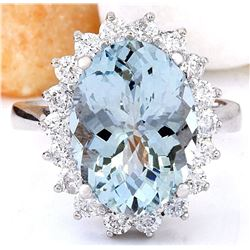 6.06 CTW Natural Aquamarine 18K Solid White Gold Diamond Ring