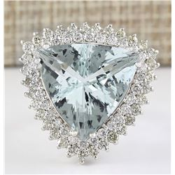18.22 CTW Natural Aquamarine And Diamond Ring In 14k White Gold