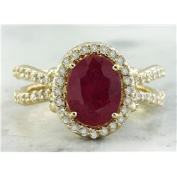 3.04 CTW Ruby 14K Yellow Gold Diamond Ring