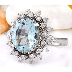 4.65 CTW Natural Aquamarine 18K Solid White Gold Diamond Ring