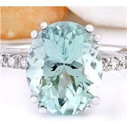 4.32 CTW Natural Aquamarine 18K Solid White Gold Diamond Ring