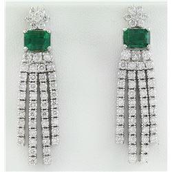 5.01 CTW Emerald 18K White Gold Diamond Errings