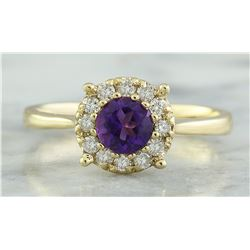 0.72 CTW Amethyst 14K Yellow Gold Diamond Ring
