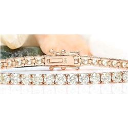 8.08 CTW Natural Diamond 18K Solid Rose Gold Bracelet