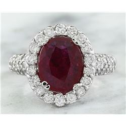 3.50 CTW Ruby 14K White Gold Diamond Ring