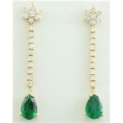5.10 CTW Emerald 14K Yellow Gold Diamond Errings