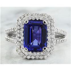 5.23 CTW Tanzanite 14K White Gold Diamond Ring