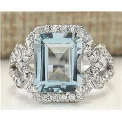 4.26 CTW Natural Aquamarine And Diamond Ring In 14K White Gold