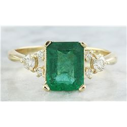 2.23 CTW Emerald 14K Yellow Gold Diamond Ring
