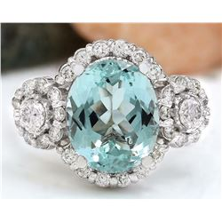 4.97 CTW Natural Aquamarine 18K Solid White Gold Diamond Ring