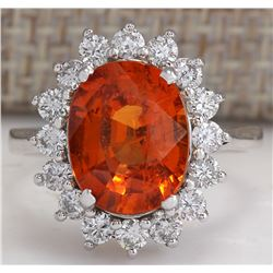 5.91CTW Natural Mandarin Garnet And Diamond Ring In18K White Gold