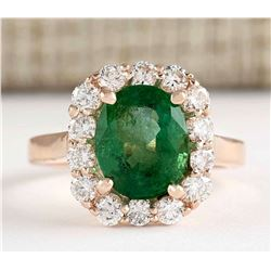4.18 CTW Natural Emerald And Diamond Ring In 18K Rose Gold