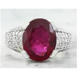 5.75 CTW Rubelite 18K White Gold Diamond Ring
