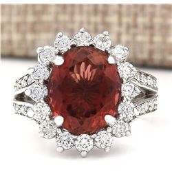 6.66 CTW Natural Burgundy Tourmaline And Diamond Ring 18K White Gold