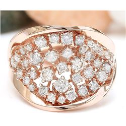 1.40 CTW Natural Diamond 18K Solid Rose Gold Ring