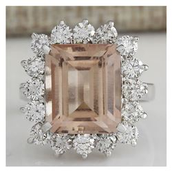 7.92CTW Natural Peach Morganite And Diamond Ring In 18K Solid White Gold