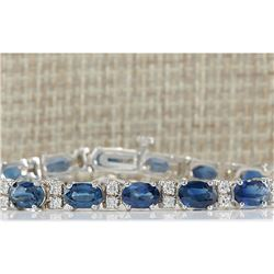 12.80 CTW Natural Blue Sapphire Diamond Bracelet 18K Solid White Gold