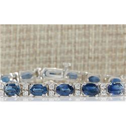 12.80 CTW Natural Blue Sapphire Diamond Bracelet 14K Solid White Gold