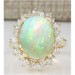 5.45 CTW Natural Opal And Diamond Ring In 14k Yellow Gold