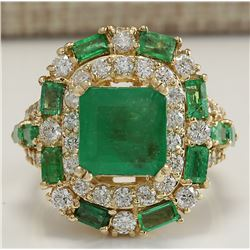 6.90 CTW Natural Emerald And Diamond Ring 18K Solid Yellow Gold
