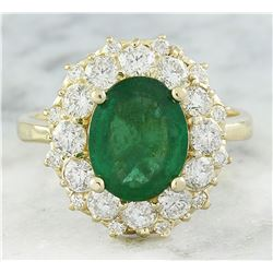 3.16 CTW Emerald 18K Yellow Gold Diamond Ring