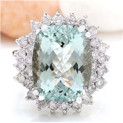 8.61 CTW Natural Aquamarine 14K Solid White Gold Diamond Ring