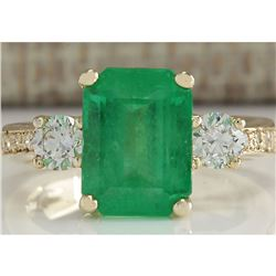 4.70 CTW Natural Colombian Emerald And Diamond Ring 18K Solid Yellow Gold