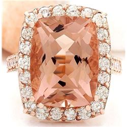 13.63 CTW Natural Morganite 14K Solid Rose Gold Diamond Ring