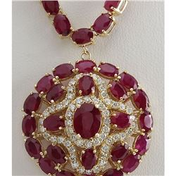 55.35 CTW Natural Ruby And Diamond Necklace In 14K Yellow Gold