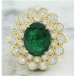 4.40 CTW Emerald 18K Yellow Gold Diamond Ring