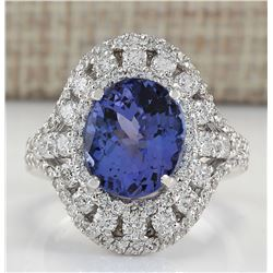 6.46 CTW Natural Tanzanite And Diamond Ring In 18K White Gold