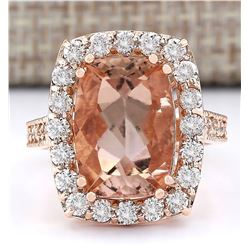 8.31 CTW Natural Morganite And Diamond Ring In 14k Rose Gold