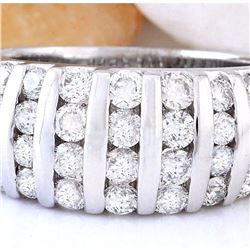 1.55 CTW Natural Diamond 14K Solid White Gold Ring