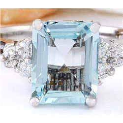 2.90 CTW Natural Aquamarine 14K Solid White Gold Diamond Ring