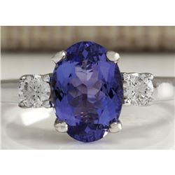 2.81 CTW Natural Tanzanite And Diamond Ring 18K Solid White Gold