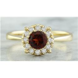 0.72 CTW Garnet 18K Yellow Gold Diamond Ring