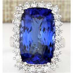 17.50 CTW Natural Tanzanite And Diamond Ring In 18K White Gold