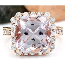 11.87 CTW Natural Kunzite 18K Solid Rose Gold Diamond Ring