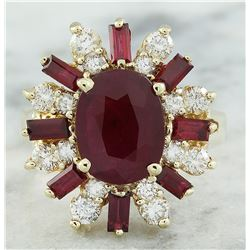 4.25 CTW Ruby 18K Yellow Gold Diamond Ring
