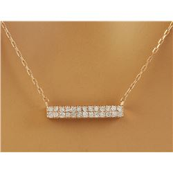 0.40 CTW Diamond 14K Rose Gold Double Bar Necklace