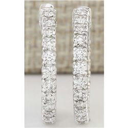 2.00 CTW Natural Diamond Hoop Earrings In 18K White Gold