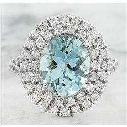 5.35 CTW Aquamarine 14K White Gold DiamondRing
