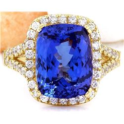 6.06 CTW Natural Tanzanite 14K Solid Yellow Gold Diamond Ring
