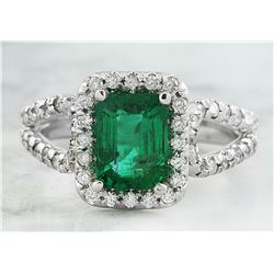 2.10 CTW Emerald 18K White Gold Diamond Ring