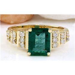 2.55 CTW Natural Emerald 14K Solid Yellow Gold Diamond Ring