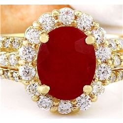 3.73 CTW Natural Ruby 18K Solid Yellow Gold Diamond Ring