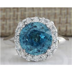 7.58 CTW Natural Blue Zircon And Diamond Ring 14K Solid White Gold