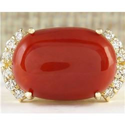10.34 CTW Natural Coral And Diamond Ring In 18K Yellow Gold