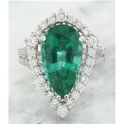 6.15 CTW Emerald 18K White Gold Diamond Ring